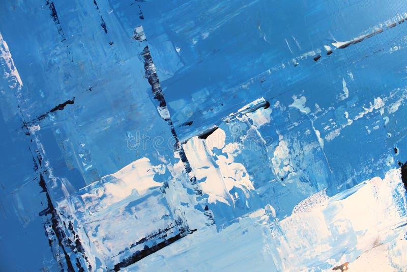 Blaue helle Farben auf Segeltuch Landschaft mit Fluss und Wald Hintergrund der abstrakten Kunst ?lgem?lde auf Segeltuch Farbbesch stockbilder