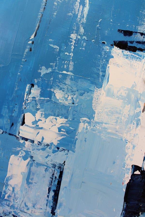 Blaue helle Farben auf Segeltuch Landschaft mit Fluss und Wald Hintergrund der abstrakten Kunst ?lgem?lde auf Segeltuch Farbbesch lizenzfreies stockfoto