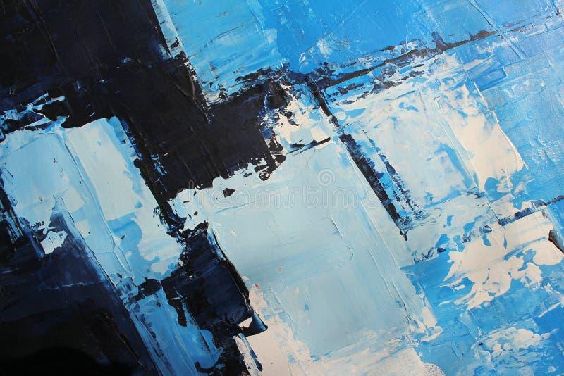 Blaue helle Farben auf Segeltuch Landschaft mit Fluss und Wald Hintergrund der abstrakten Kunst ?lgem?lde auf Segeltuch Farbbesch lizenzfreie stockfotografie