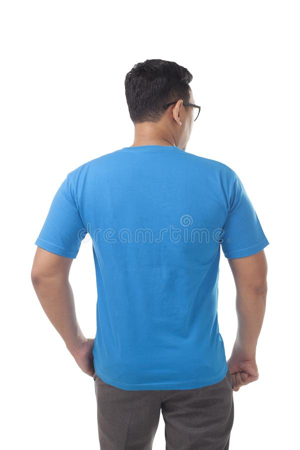 Blaue Hemd-Entwurfs-Schablone stockfoto