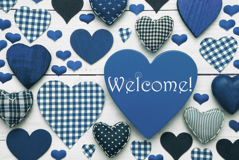 Blaue Herz-Beschaffenheit mit Willkommen lizenzfreies stockbild