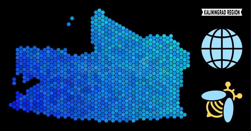 Blaue Hexagon-Kaliningrad-Regions-Karte stock abbildung