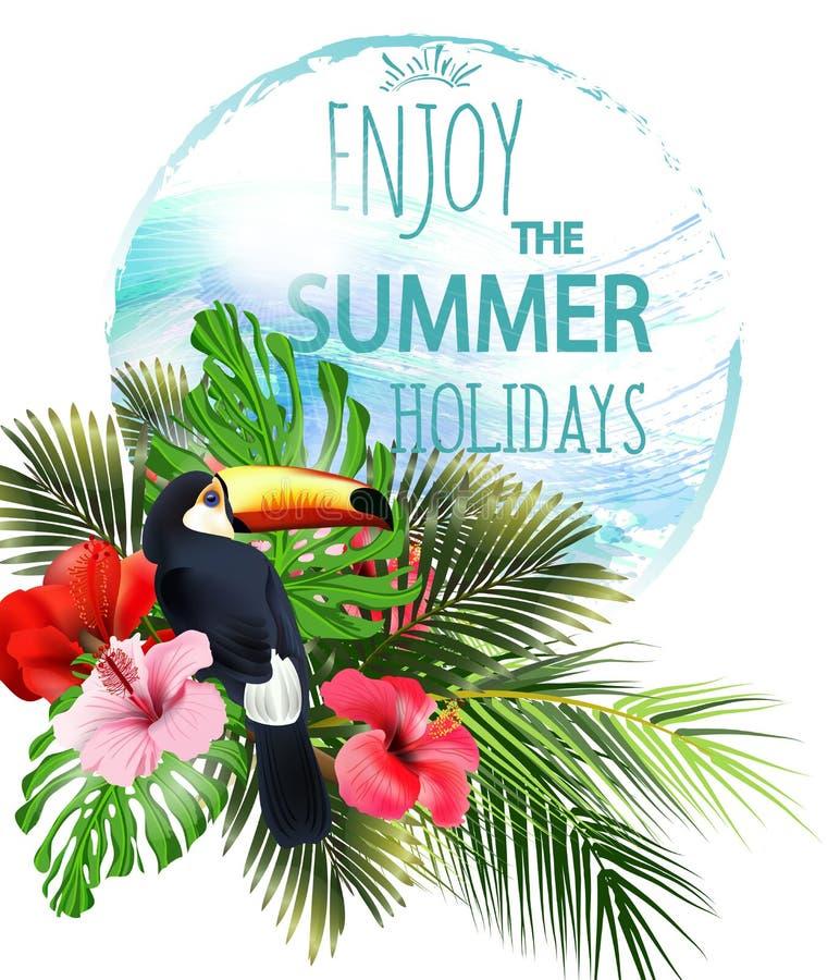 Blaue Himmel und Ozean mit dem Fischspringen Setzen Sie, schöne panoramische Ansicht der Palmen See, mit tropischen Blumen auf de lizenzfreie abbildung