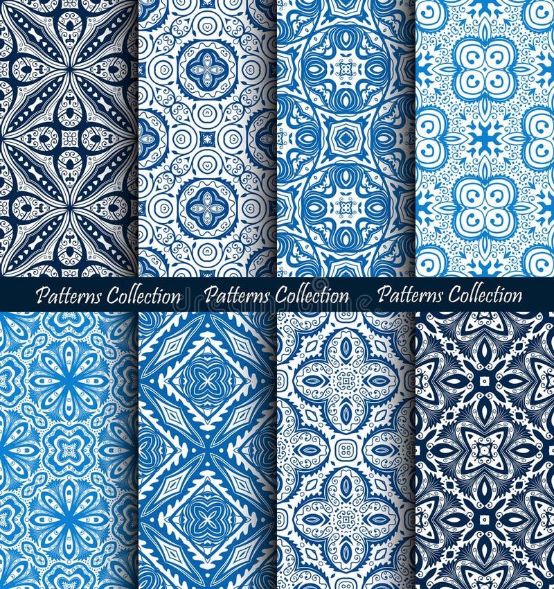 Blaue Hintergrund-geschmiedete Blumenmuster eingestellt lizenzfreie abbildung