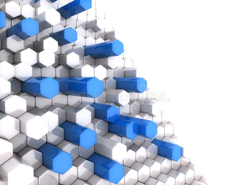 Blaue hohe Hexagone stock abbildung