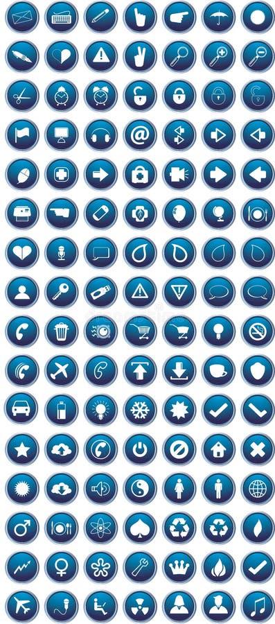 Blaue Ikonen eingestellt stock abbildung