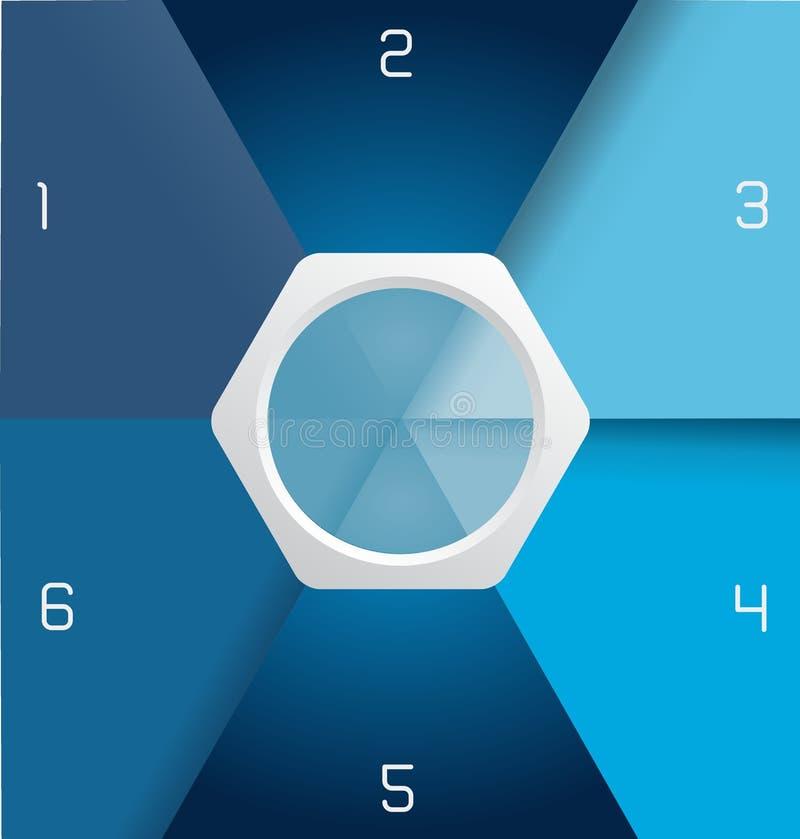 Blaue infographic Schablone mit Zahlen und Platz für Text stock abbildung
