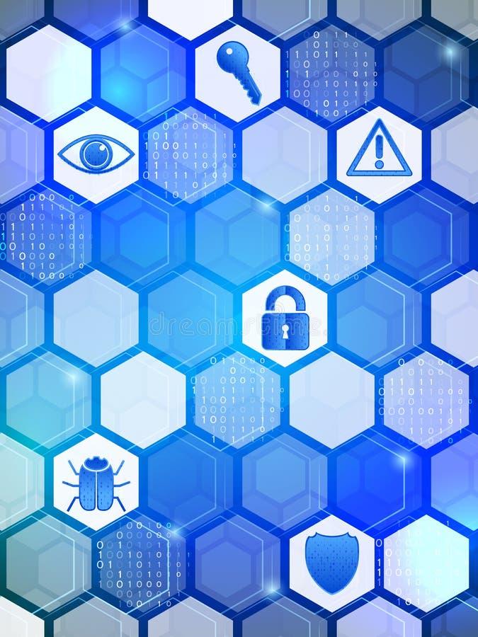 Blaue Internetsicherheit auf dem Hexagonhintergrund vektor abbildung