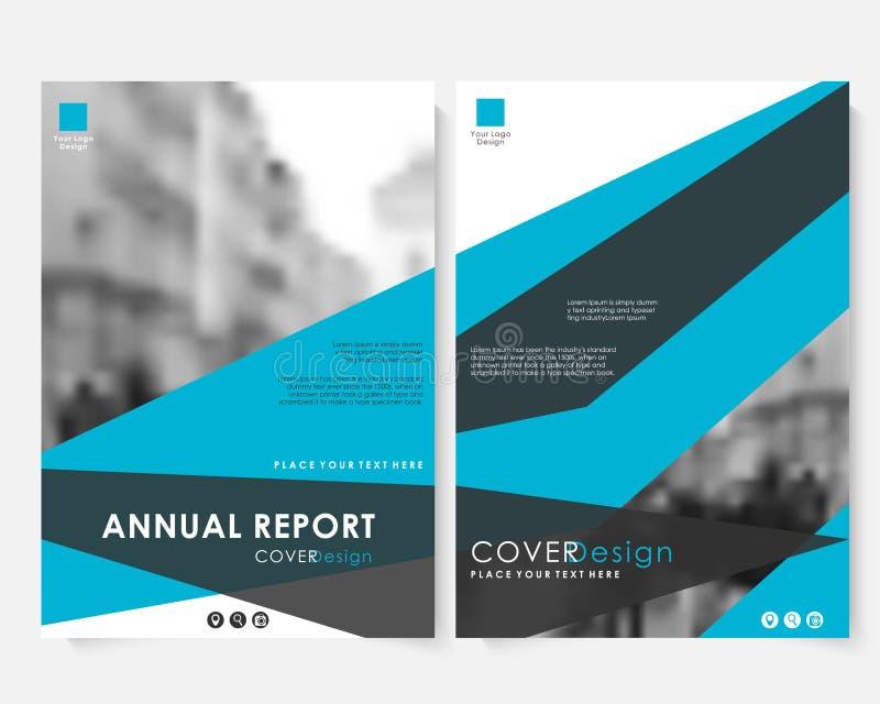 Blaue Jahresberichtabdeckungs-Designschablone mit unscharfem Foto Broschürendarstellungswebsite-Portfoliovektor farbe lizenzfreie abbildung