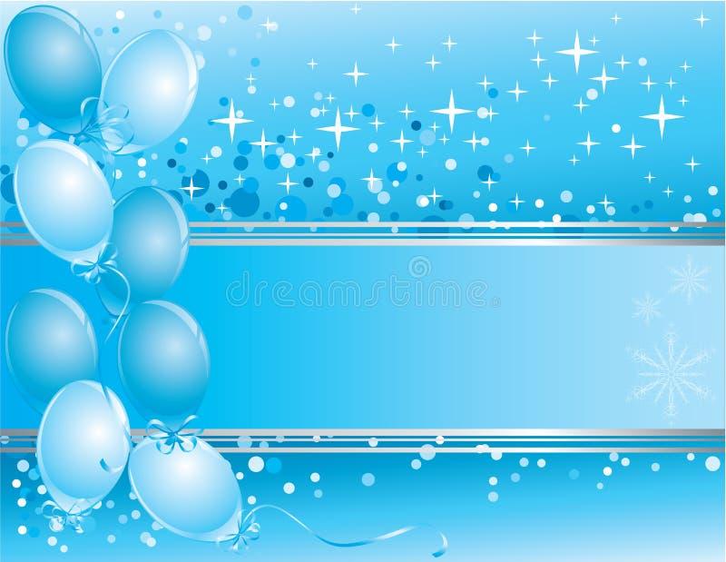 Blaue Karte des neuen Jahres mit Ballonen lizenzfreie abbildung