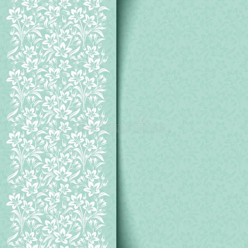 Blaue Karte mit Blumenmuster. vektor abbildung