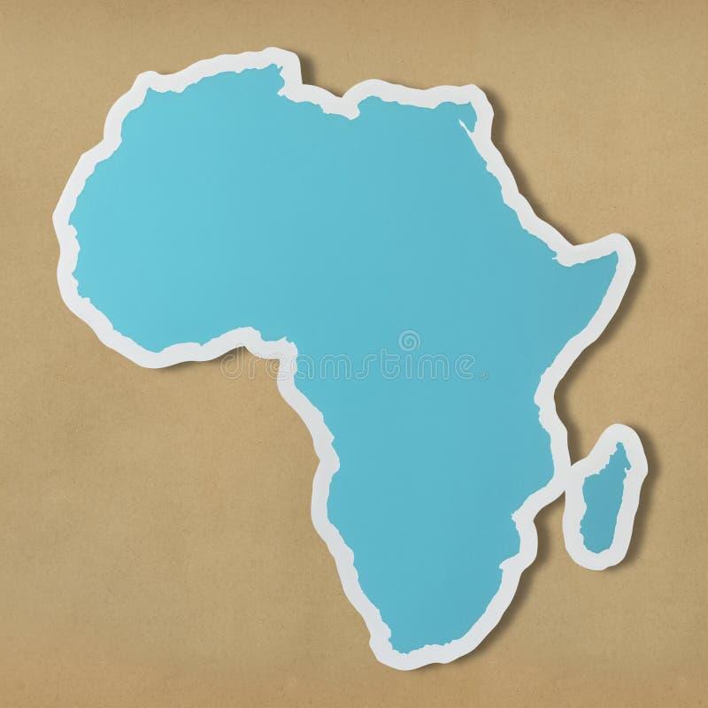 Blaue Karte von Afrika-Kontinent lizenzfreie stockfotografie