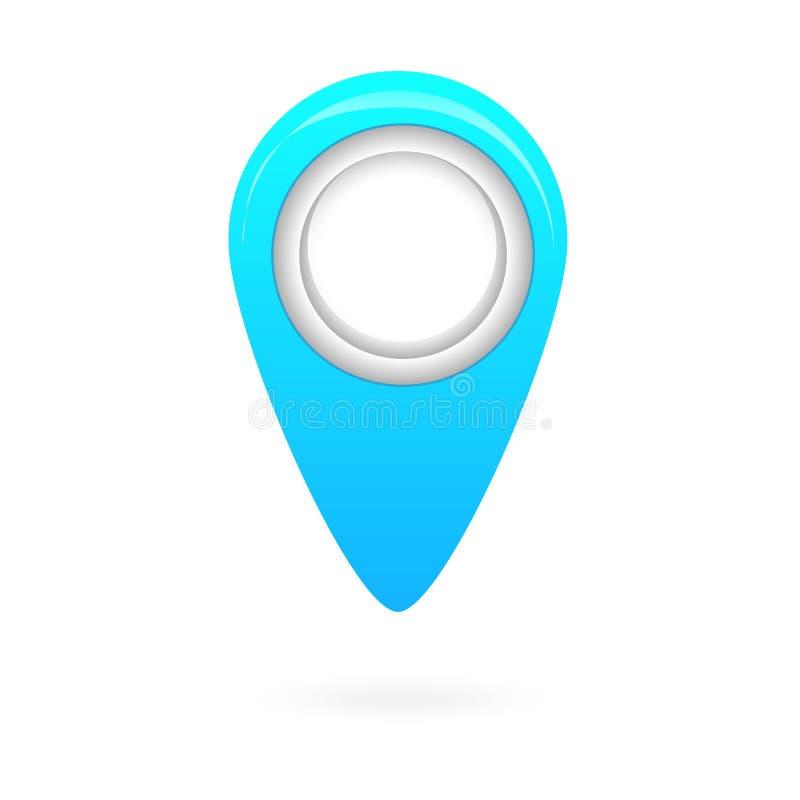 Blaue Kartenzeigerikone, GPS-Standortsymbol, Navigationen unterzeichnen stock abbildung