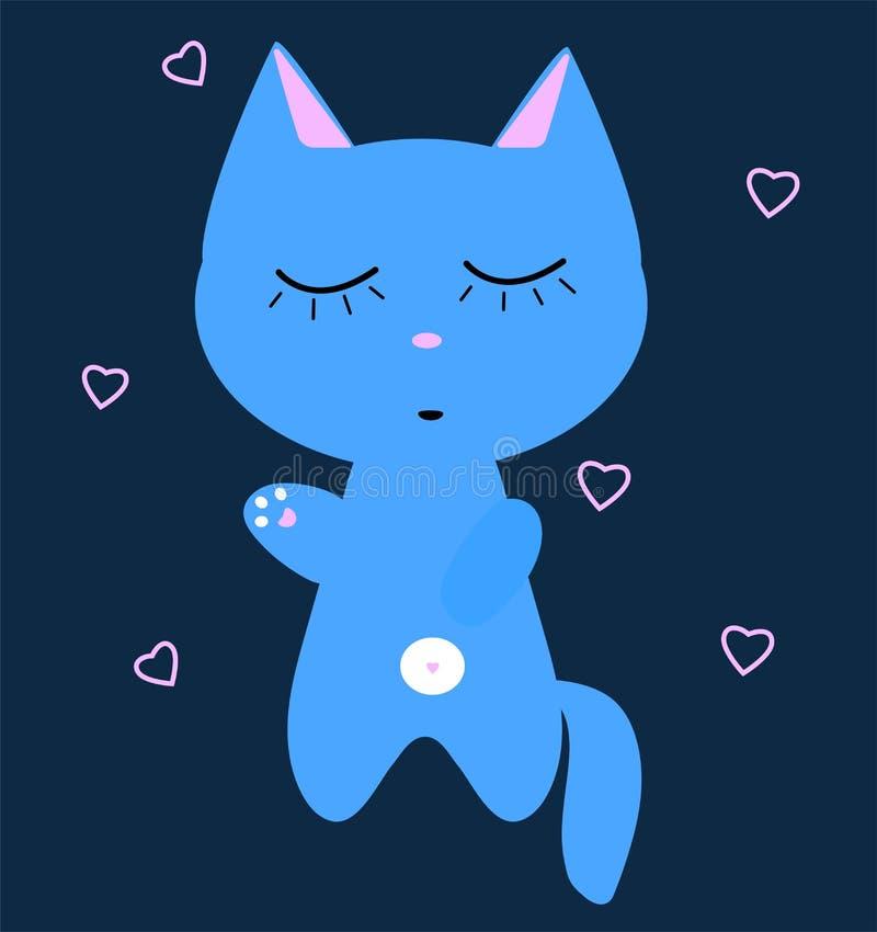 Blaue Katze schläft Weißer Bauch, rosa Tatzen Lustiges kawaii Kätzchen Karte der Kind s Netter Karikaturvektorcharakter lizenzfreie abbildung