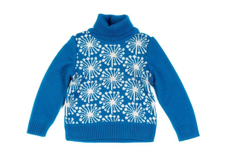 Blaue Kind-` s gestrickte Strickjacke Isolat auf Weiß stockfotos