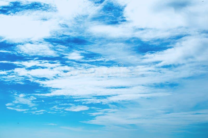 Blaue klare Farbe des bewölkten Himmels des Strandes lizenzfreie stockbilder