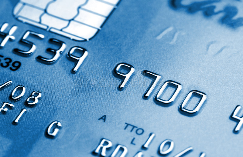 Blaue Kreditkarte stockfotografie