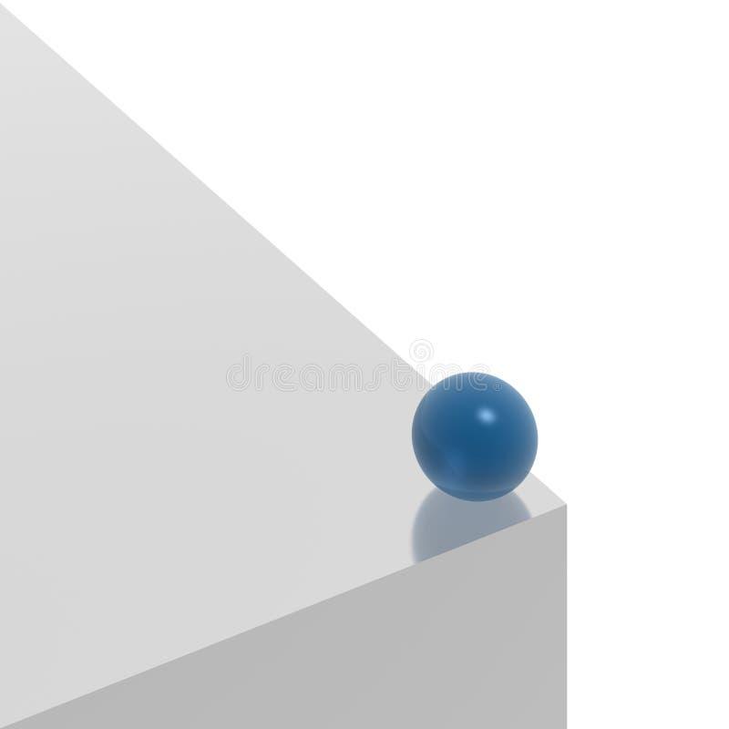 Blaue Kugel auf dem Rand lizenzfreie abbildung