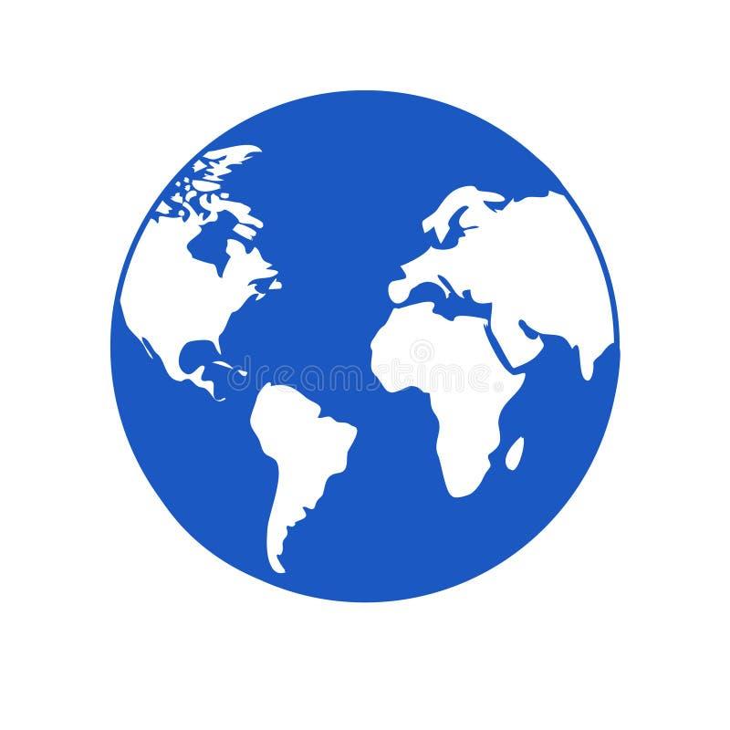 Blaue Kugel der Weltikone mit einfachem flachem Rundschreiben der weißen Kontinente lizenzfreie abbildung