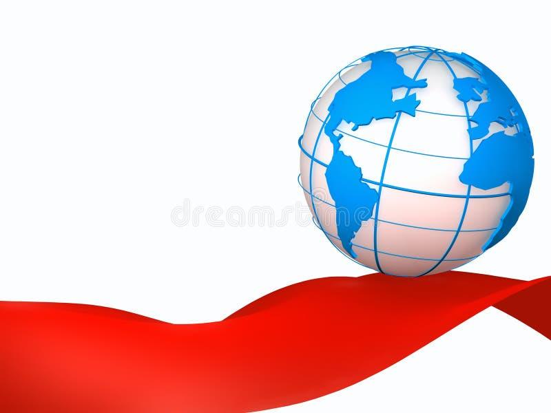 Blaue Kugel und rotes Band lizenzfreies stockbild
