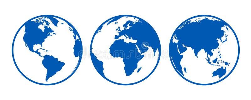 Blaue Kugeln mit Kontinenten, Ansicht von den verschiedenen Positionen - Vektor lizenzfreie abbildung