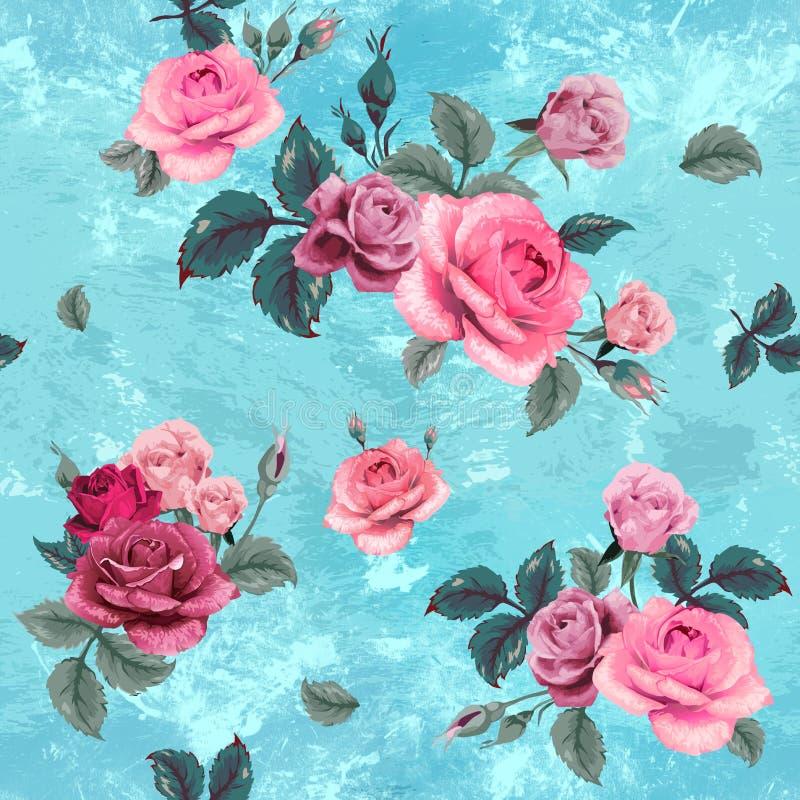 Blaue Lagunenrosen des Musters für romantische Stimmung stock abbildung