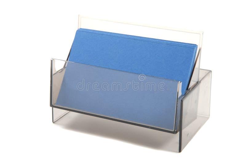 Blaue leere Visitenkarten in einem Kasten lizenzfreie stockfotografie