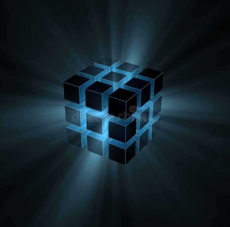 Blaue Lichtstrahlen vom Puzzlespielwürfel vektor abbildung