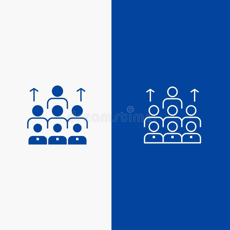 Blaue Linie Fahne der festen Ikone der Arbeitskräfte, des Geschäfts, des Menschen, der Führung, des Managements, der Organisation lizenzfreie abbildung