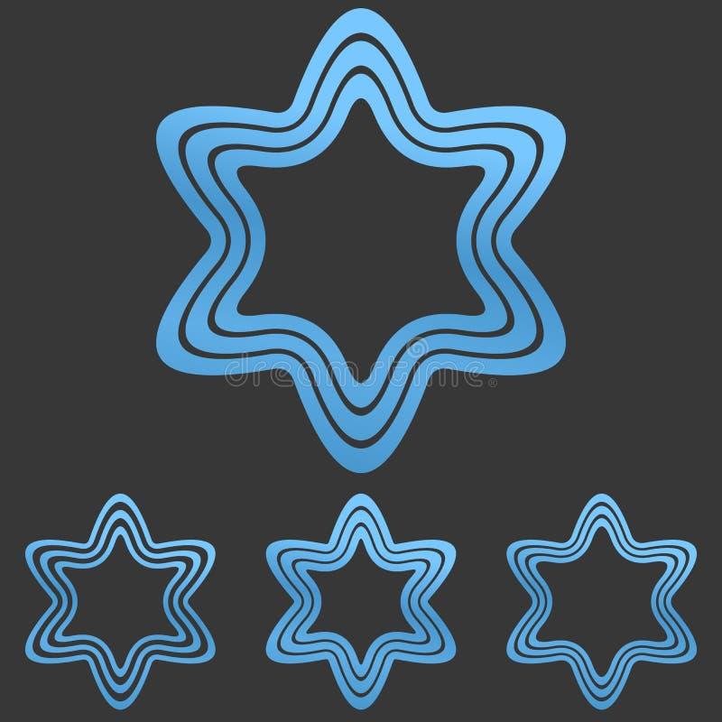Blaue Linie Sternlogo-Designsatz vektor abbildung