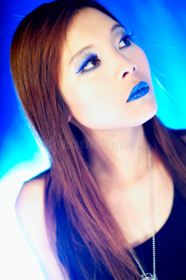 Blaue Lippen lizenzfreie stockbilder