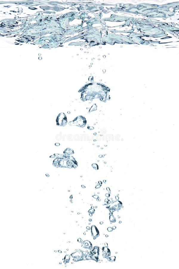 Blaue Luftblasen im Wasser stockbilder