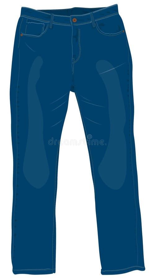Blaue Männer ` s Jeans mit Vorderansicht der Messingknöpfe lokalisierten Vektor I stockfoto
