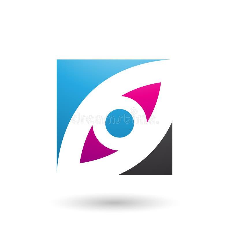 Blaue Magenta-und des blauen Auges geformte quadratische Vektor-Illustration lizenzfreie abbildung