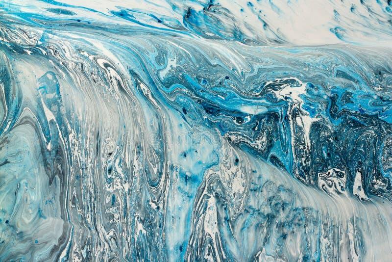 Blaue marmornde Beschaffenheit Kreativer Hintergrund mit dem abstrakten gemalten Öl bewegt, handgemachte Oberfläche wellenartig stockbilder