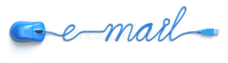 Blaue Maus und Kabel in Form des E-Mail-Wortes stock abbildung