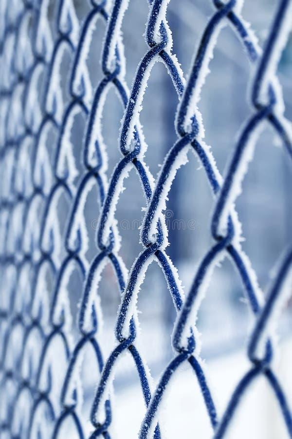 Blaue Metallgrillfiletarbeit bedeckt mit flaumigen weißen Kristallen von f lizenzfreie stockfotos