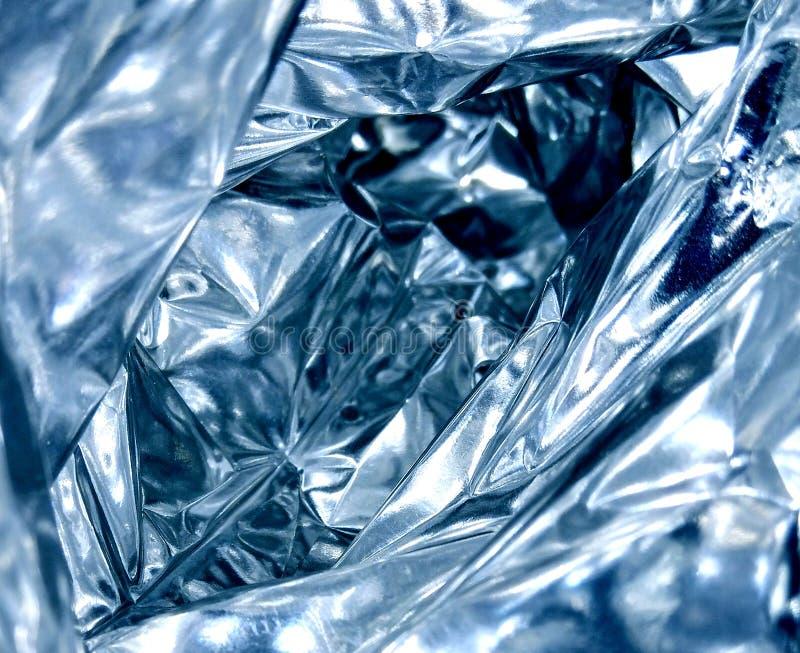 Blaue metallische Faltenfolie stockbild