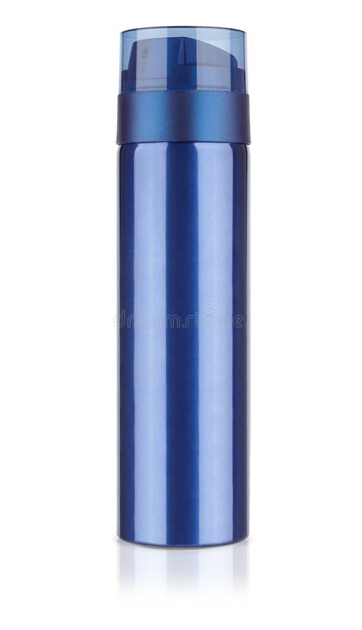 Blaue metallische kosmetische Flasche, die Flasche des desodorierenden Mittels, Schaum rasierend ist stockbild