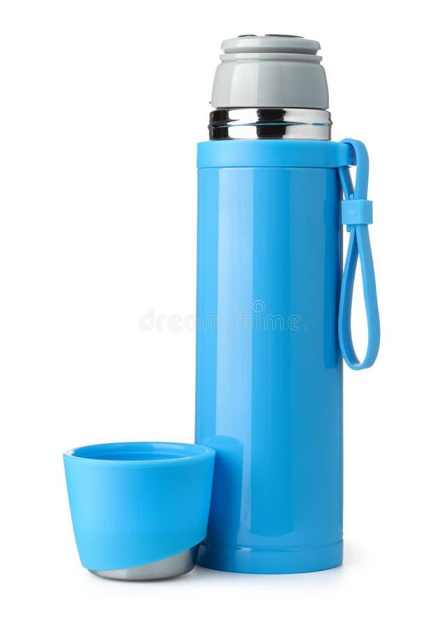 Blaue Metallthermosflasche stockbild