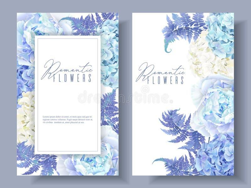 Blaue mit Blumenfahnen lizenzfreie abbildung