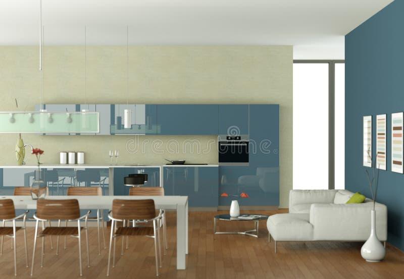 Blaue Moderne Küche Mit Speisetische Und Weißem Sofa Stock ...