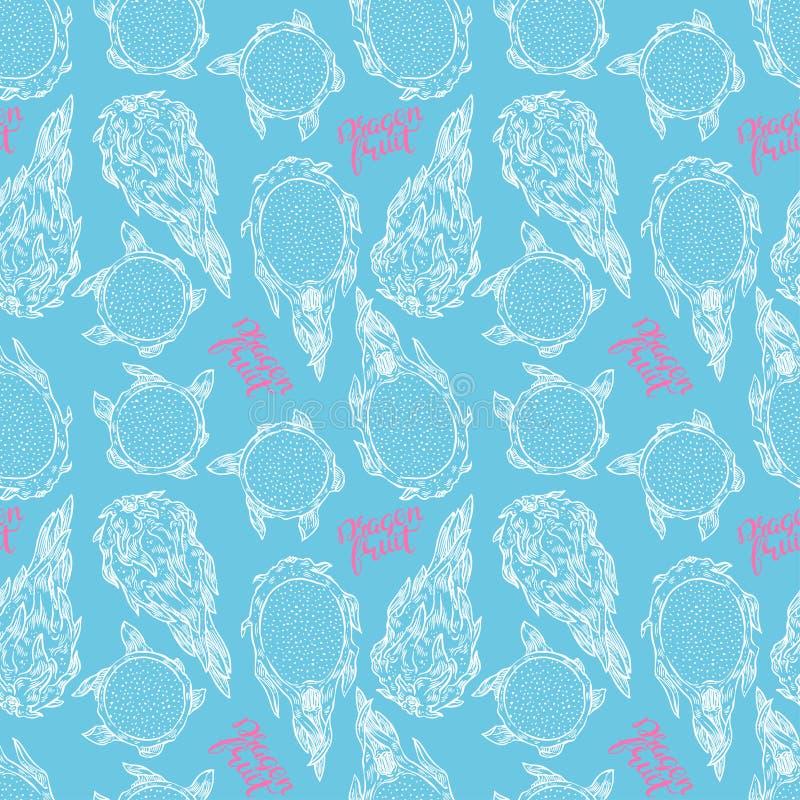 Blaue nahtlose Skizzendrachefrucht stock abbildung