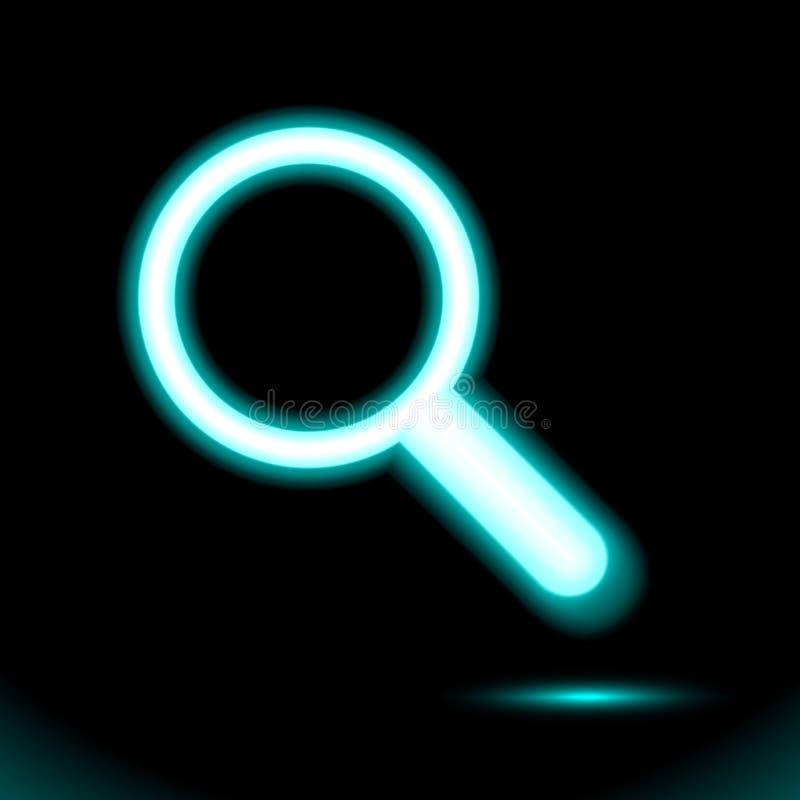 Blaue Neonlupen- oder Suchikone, Lampe, Zeichenknopflicht, Symbol für Entwurf auf schwarzem Hintergrund Leuchtstoffgegenstand stock abbildung