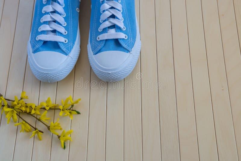 Blaue neue Turnschuhe mit Frühling färben Blumen auf dem hölzernen backg gelb lizenzfreies stockfoto