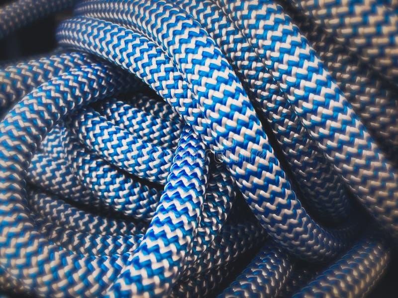 Blaue Nylonseilszenenzusammenfassungs-Tapetenhintergründe lizenzfreies stockbild