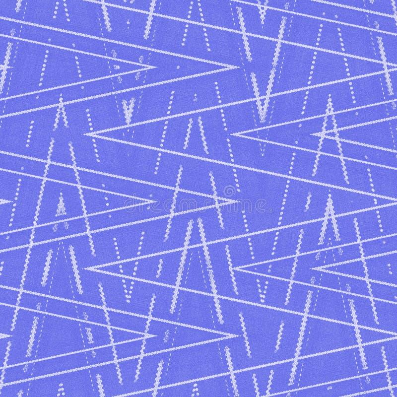 Blaue oder violette Tapete mit weißem Zickzackmuster-Nachahmungsdenim stock abbildung