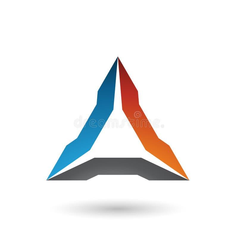 Blaue Orange und schwarze ährentragende Dreieck-Vektor-Illustration stock abbildung