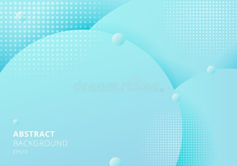 Blaue Pastelle der flüssigen flüssigen Kreise der Zusammenfassung 3D schönen Hintergrund mit Halbtonbeschaffenheit färben stock abbildung