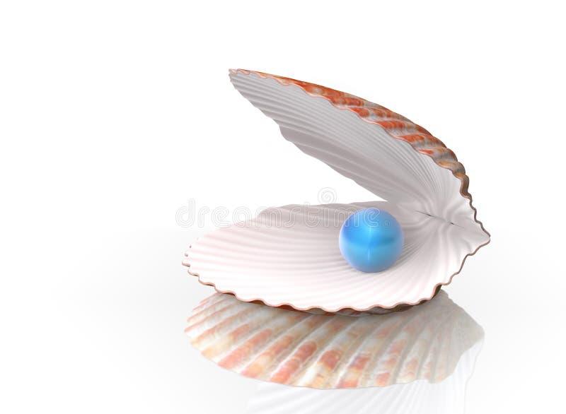 Blaue Perle in einem Shell lizenzfreie stockfotografie